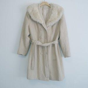 Vintage fur & wool peacoat